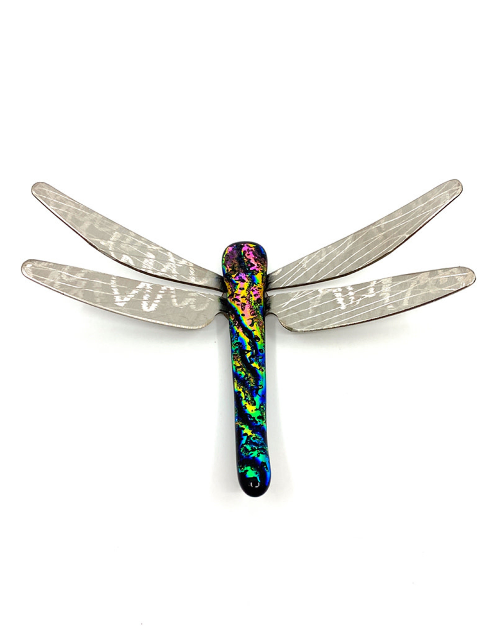 RUNNING ROCK ART 6'' DICHROIC DRAGONFLY WALL ACCENT