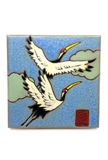 PACIFIC BLUE TILE JAPANESE SANDHILL CRANES TILE