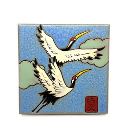 PACIFIC BLUE TILE JAPANESE SANDHILL CRANES TILE