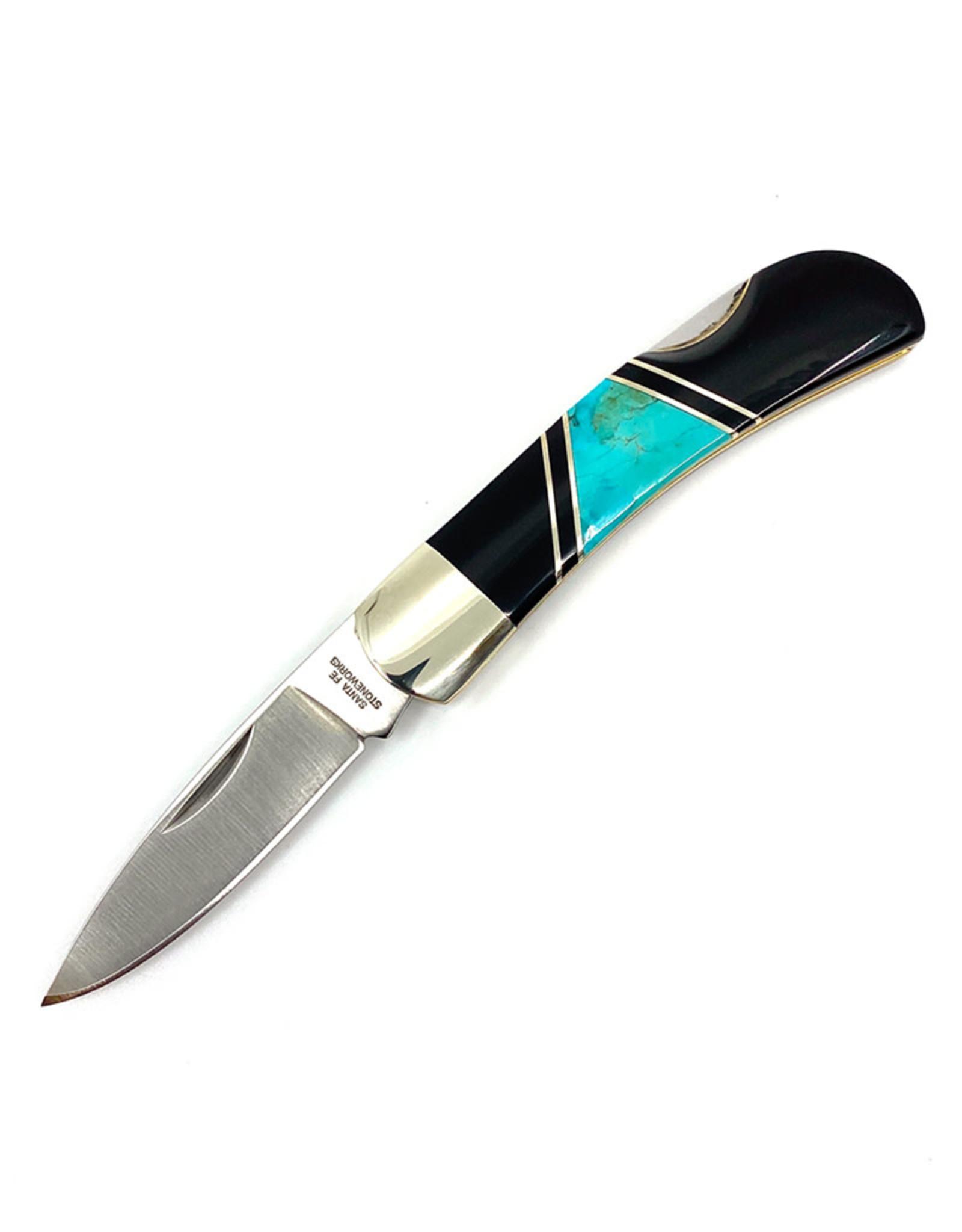 SANTA FE STONEWORKS 3'' LOCK BACK TURQUOISE KNIFE