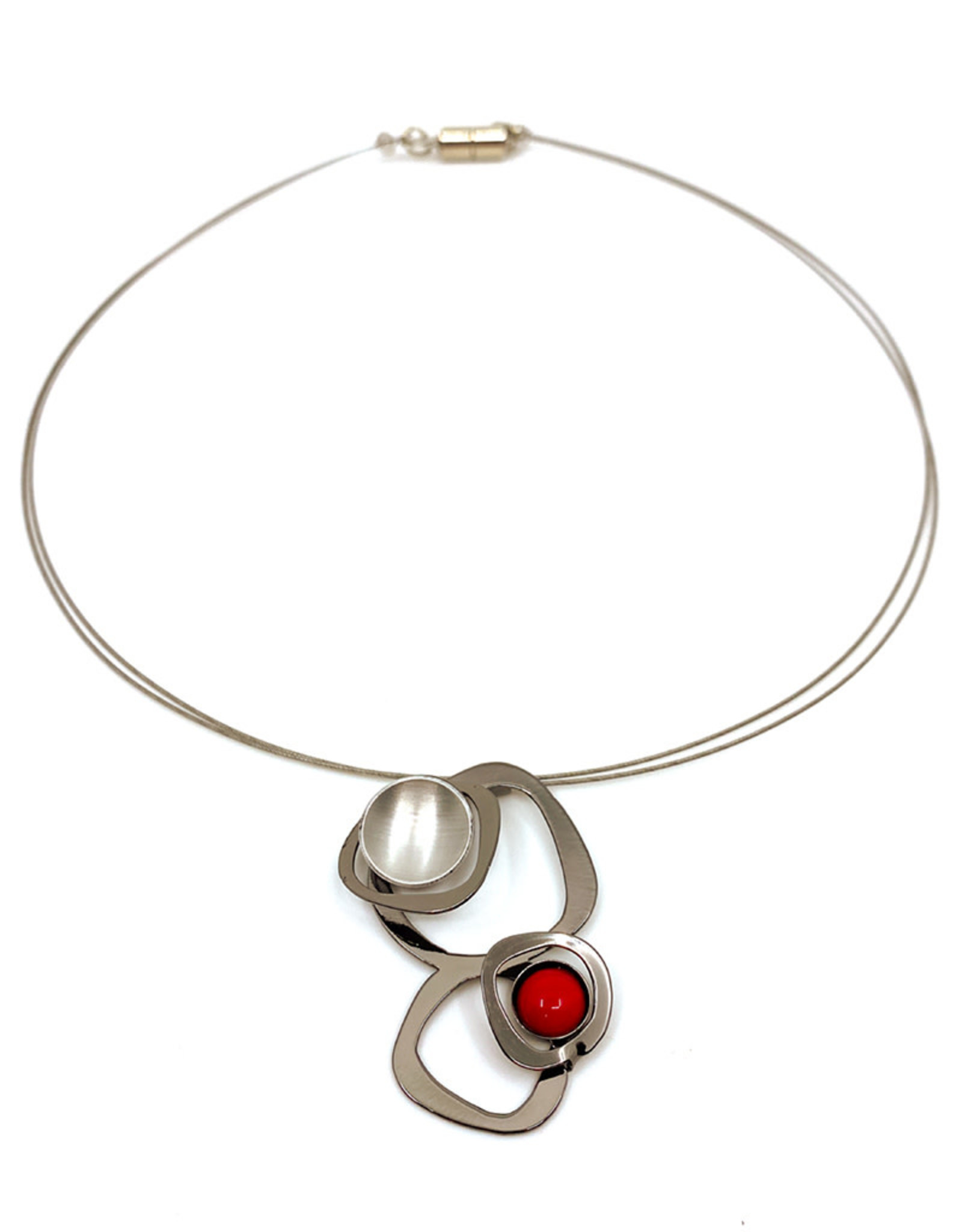 CHRISTOPHE POLY ABSTRACT CIRCLE WIRE NECKLACE