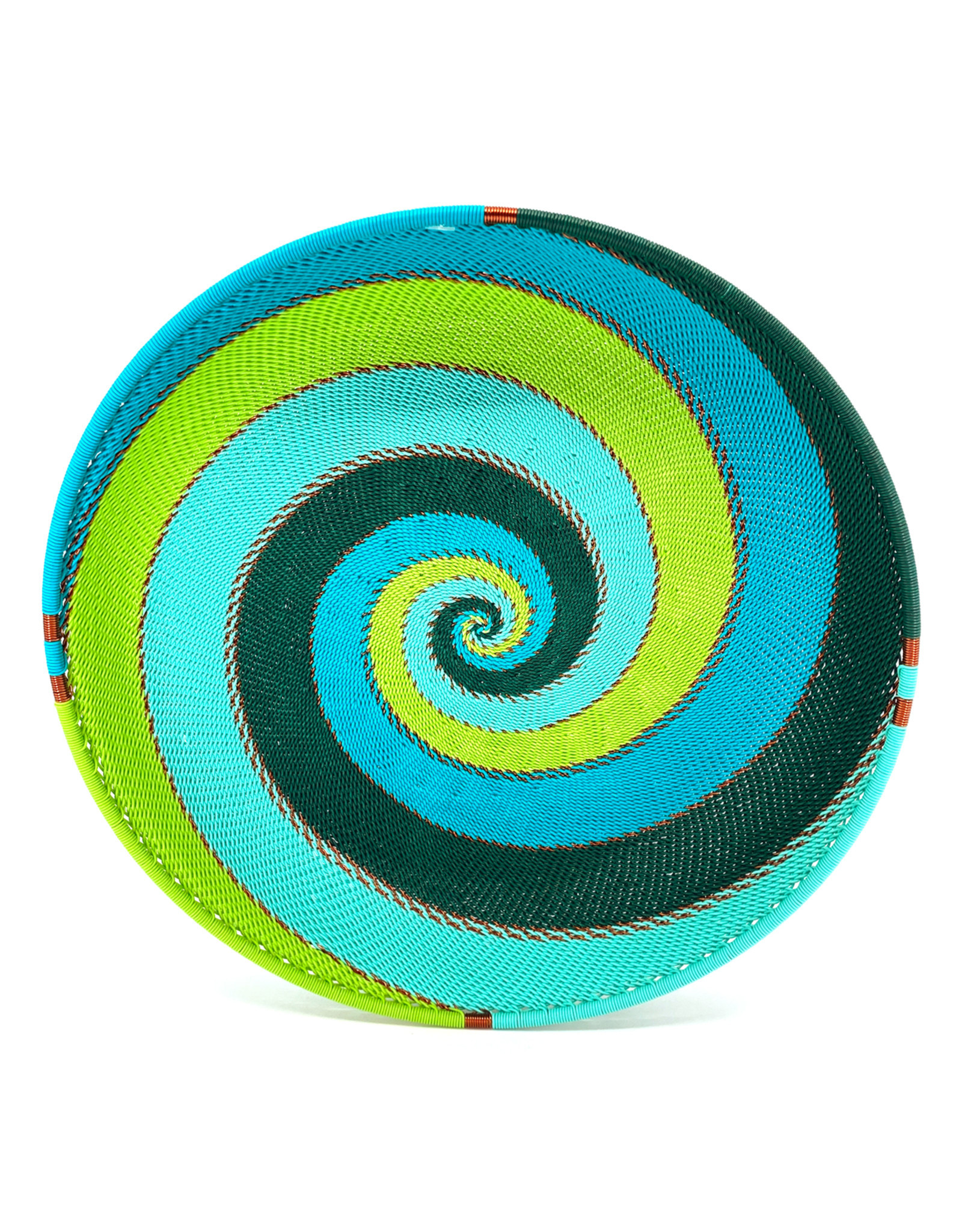 BASKETS OF AFRICA SHORT TEAL WIRE BOWL