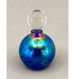 VINES ART GLASS ROUND TWO BLUE PERFUME BOTTLE