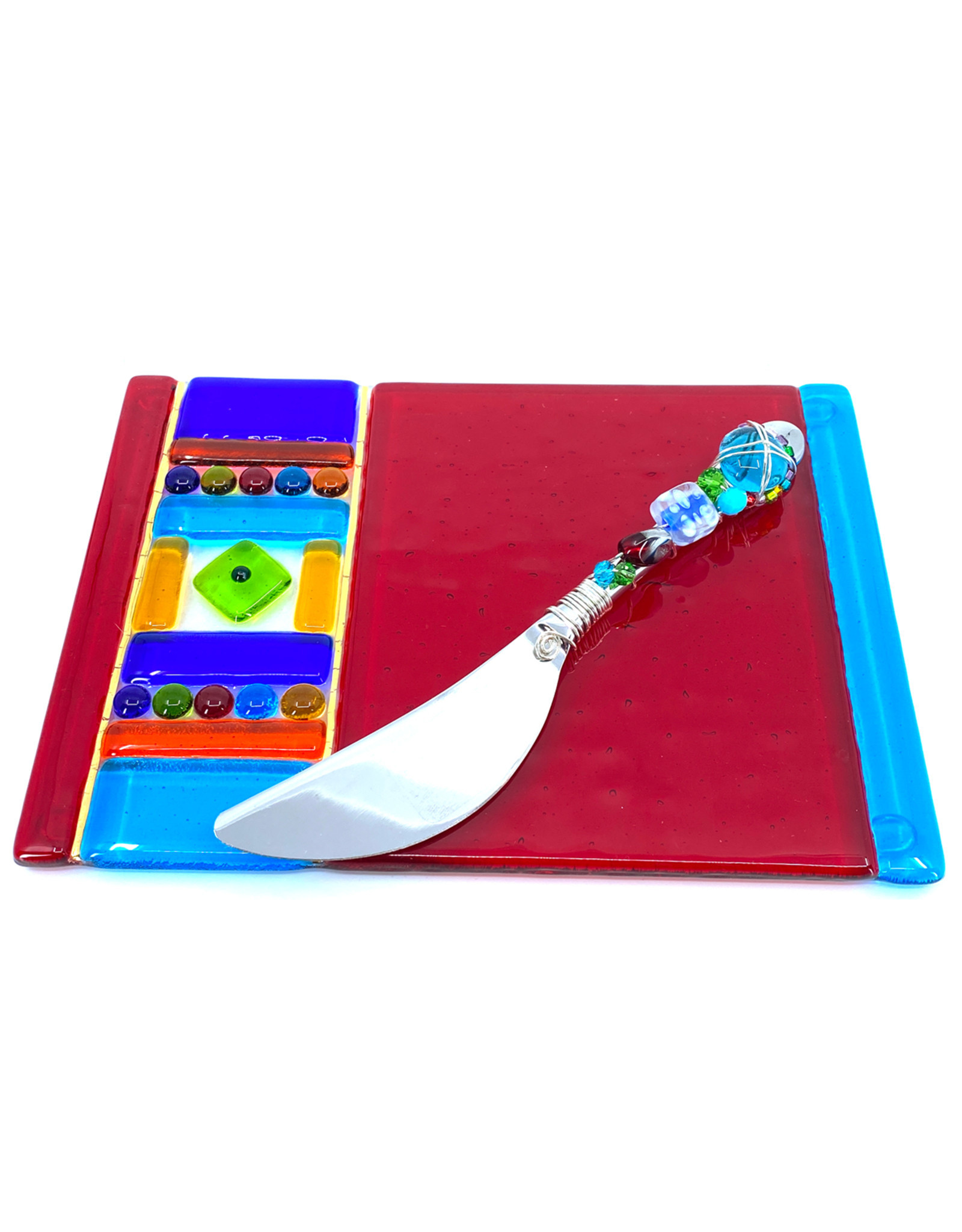 ME 2 U CARNIVAL CHEESE PLATE WITH BEADED SPREADER