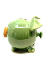 CLAY IN MOTION GREEN CERAMIC PIGGY BANK