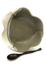 HILBORN POTTERY GRAY & WHITE BRIE DISH WITH SPOON
