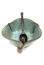 HILBORN POTTERY LARGE BLUE MEDLEY CURLY BOWL WITH SERVERS