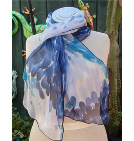CARON MILLER BLUE SPLASH SILK SCARF