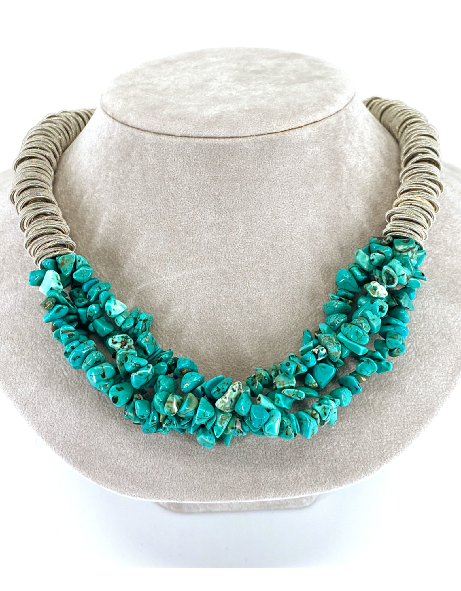 SEA LILY TURQUOISE PIANO WIRE NECKLACE
