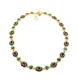 ACLEONI ABALONE & GARNET COLLAR NECKLACE