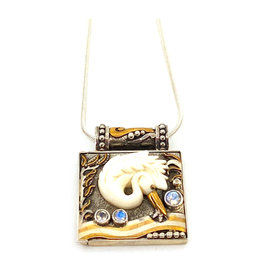 ZEALANDIA EGRET LOCKET NECKLACE