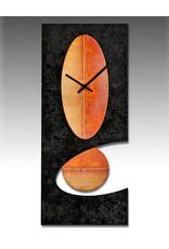 LEONIE LACOUETTE BLACK & COPPER OVAL PENDULUM CLOCK