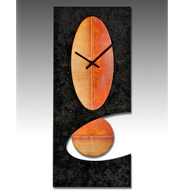 LEONIE LACOUETTE BLACK & COPPER OVAL PENDULUM CLOCK