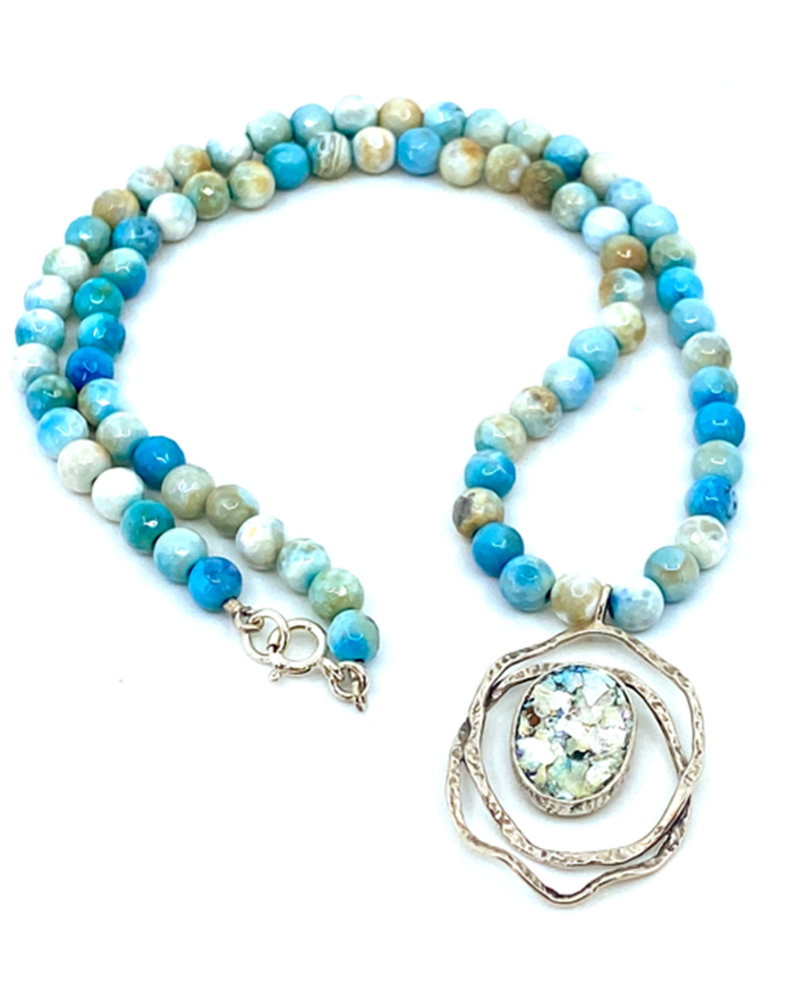 ANGIE OLAMI ROMAN GLASS & AGATE NECKLACE