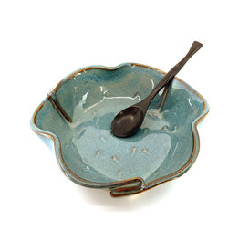 HILBORN POTTERY BLUE MEDLEY BRIE DISH WITH SPOON