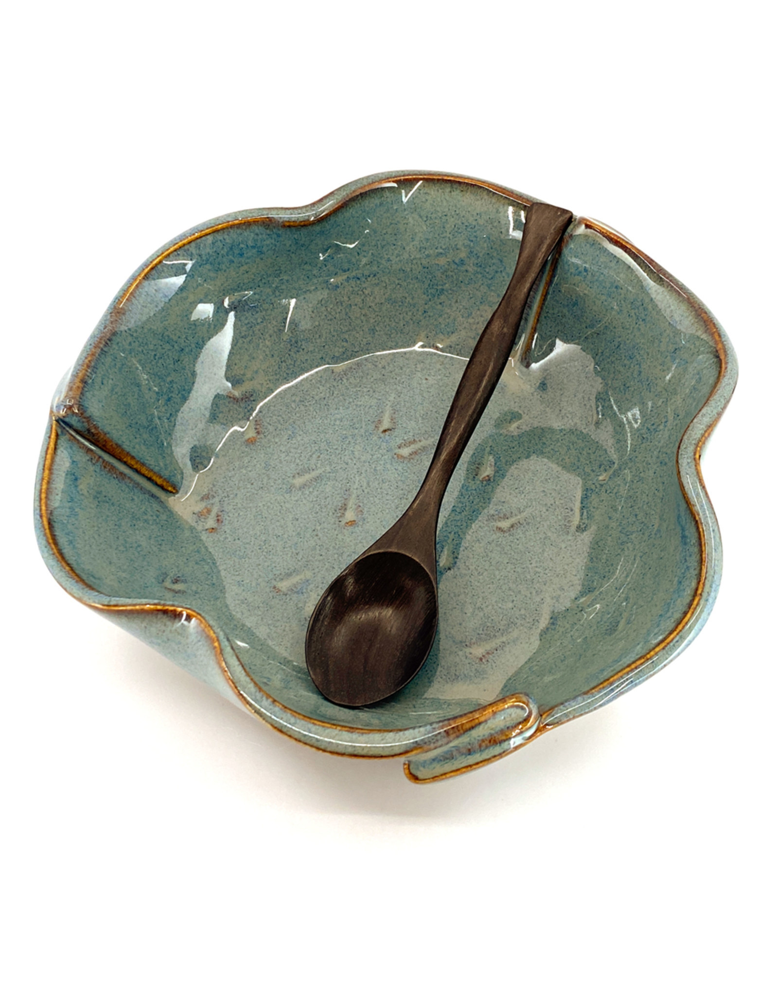 HILBORN POTTERY BRIE DISH WITH SPOON
