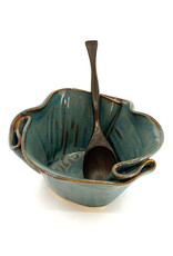 HILBORN POTTERY BLUE MEDLEY GUACAMOLE BOWL WITH SPOON