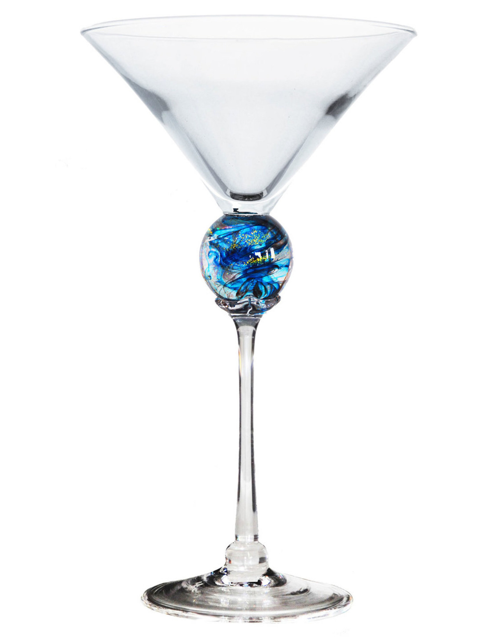 ROMEO GLASS TURQUOISE PLANET MARTINI GLASS