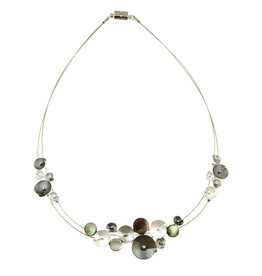 ORIGIN JEWELRY GREY GLITTER FLOWER NECKLACE