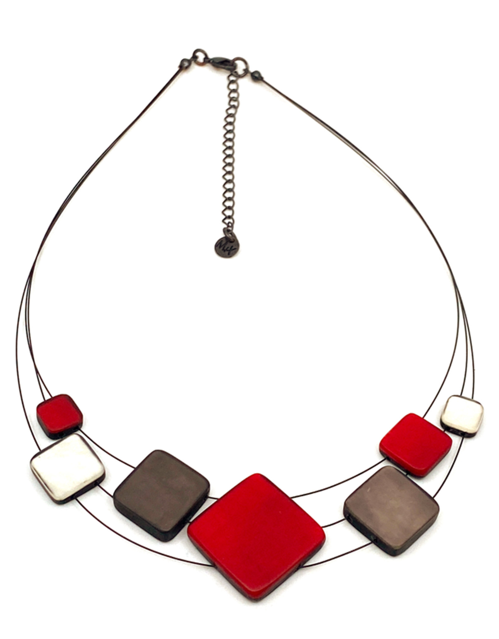 ORIGIN JEWELRY RED MULTI-SQUARE NECKLACE