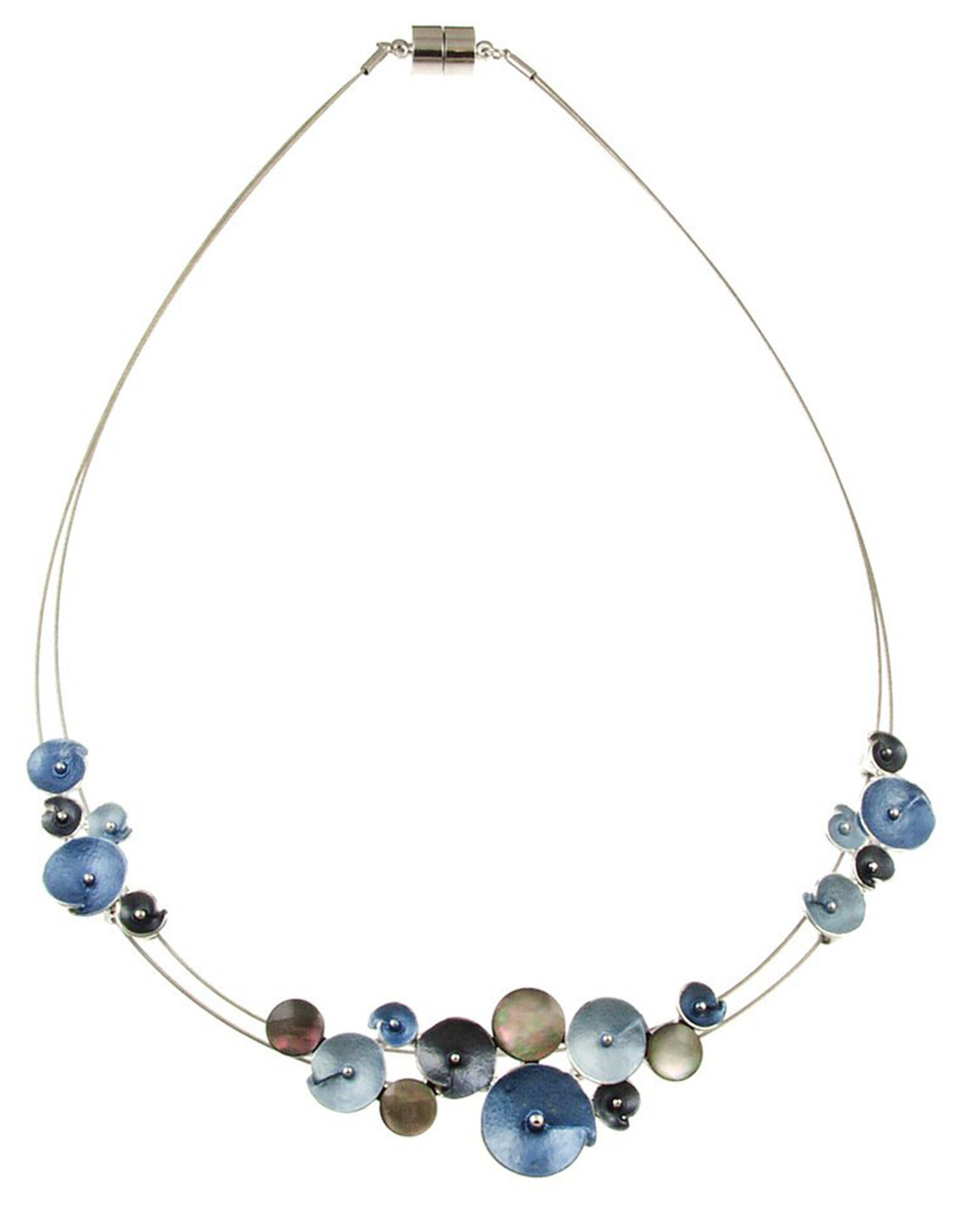 ORIGIN JEWELRY BLUE GLITTER FLOWER NECKLACE