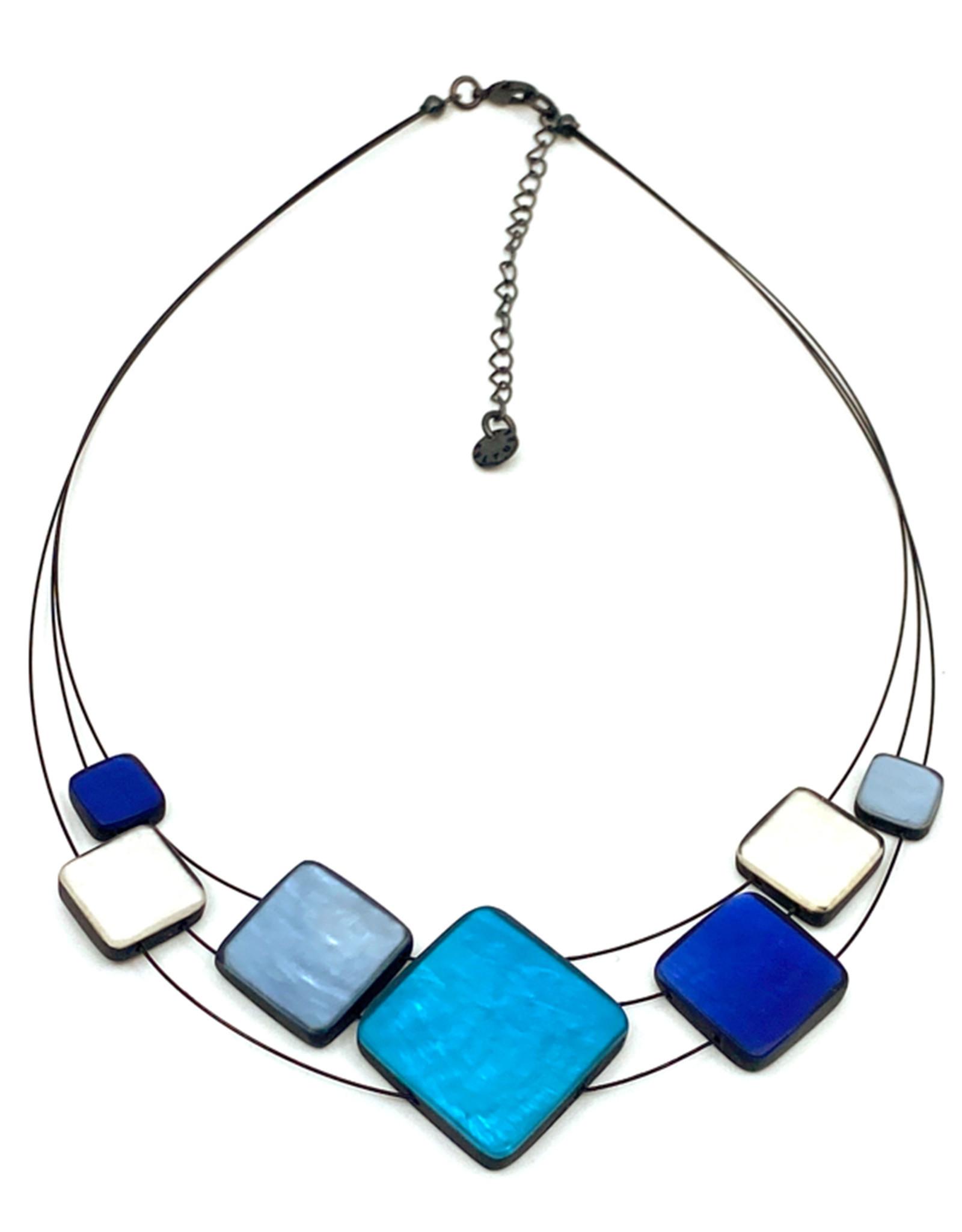 ORIGIN JEWELRY BLUE MULTI-SQUARE NECKLACE