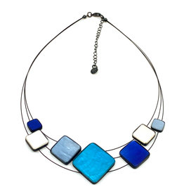ORIGIN JEWELRY BLUE MULTI-SQUARE NECKLACE