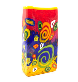 MAD ART RED SPIRAL RECTANGLE VASE