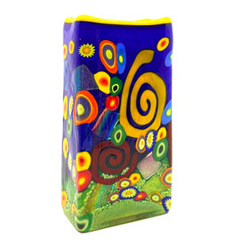 BLUE SPIRAL RECTANGLE VASE