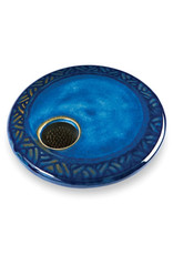 GEORGETOWN POTTERY ROUND BLUE CARVED IKEBANA