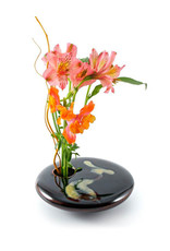 GEORGETOWN POTTERY SQUARE BLACK WAVE IKEBANA