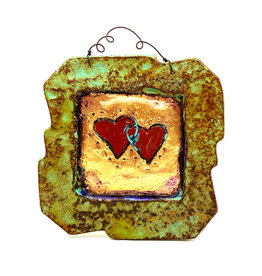 PAPER & STONE DOUBLE HEART WALL PLAQUE