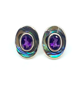 ACLEONI AMETHYST & ABALONE STUD  EARRINGS