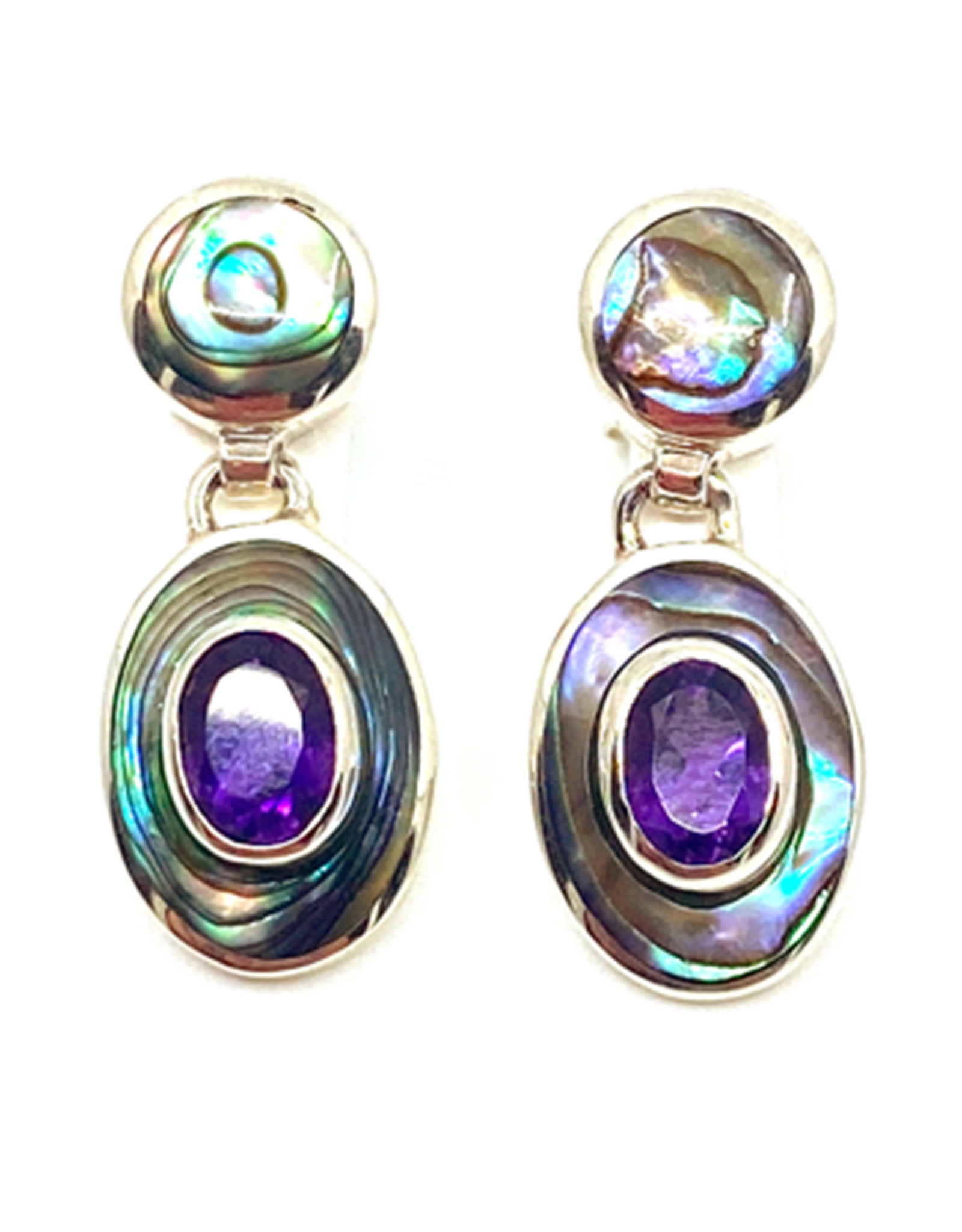 ACLEONI ABALONE & AMETHYST HINGED EARRINGS