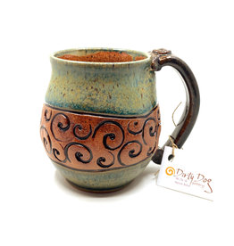 DIRTY DOG POTTERY CELADON SWIRL MUG