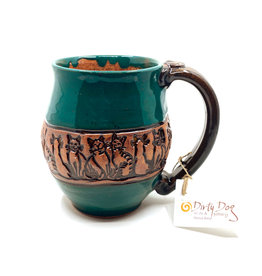 DIRTY DOG POTTERY GREEN CAT POWWOW  MUG