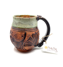 DIRTY DOG POTTERY CELADON CARVED GINKGO MUG