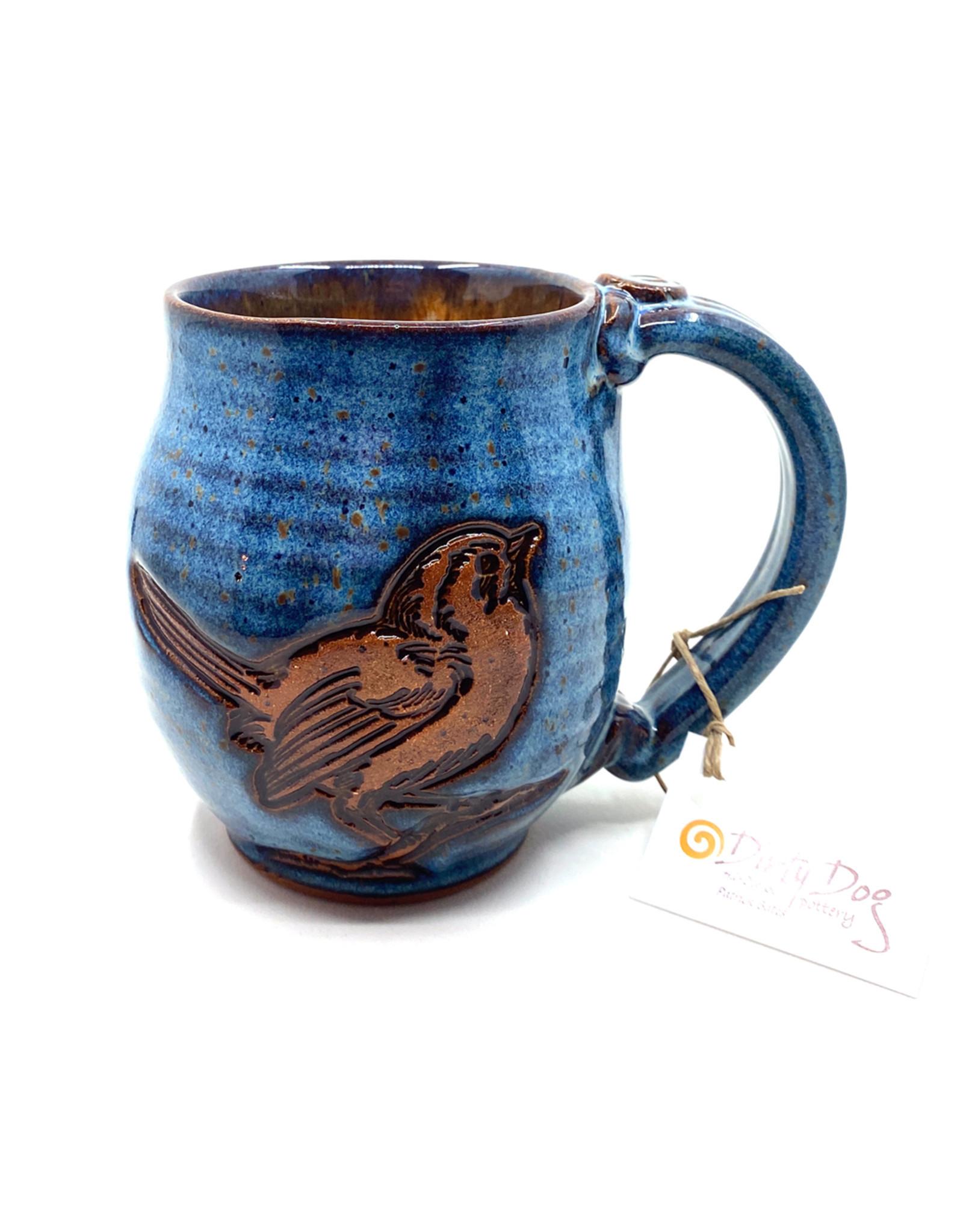DIRTY DOG POTTERY BLUE BIRD MUG