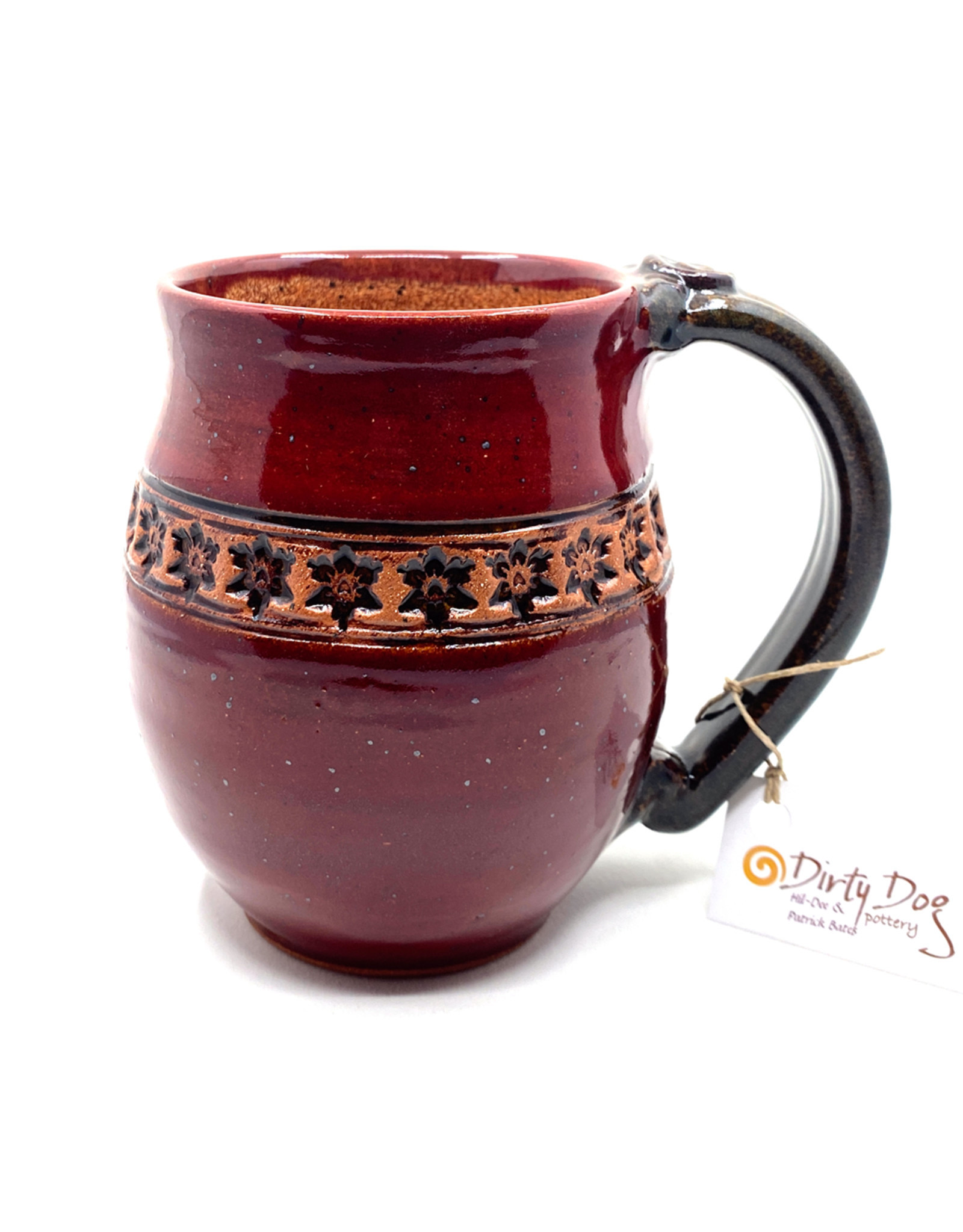 DIRTY DOG POTTERY MERLOT FLOWER CHAIN MUG