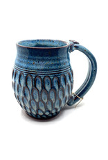 DIRTY DOG POTTERY BLUE SCALLOPED MUG