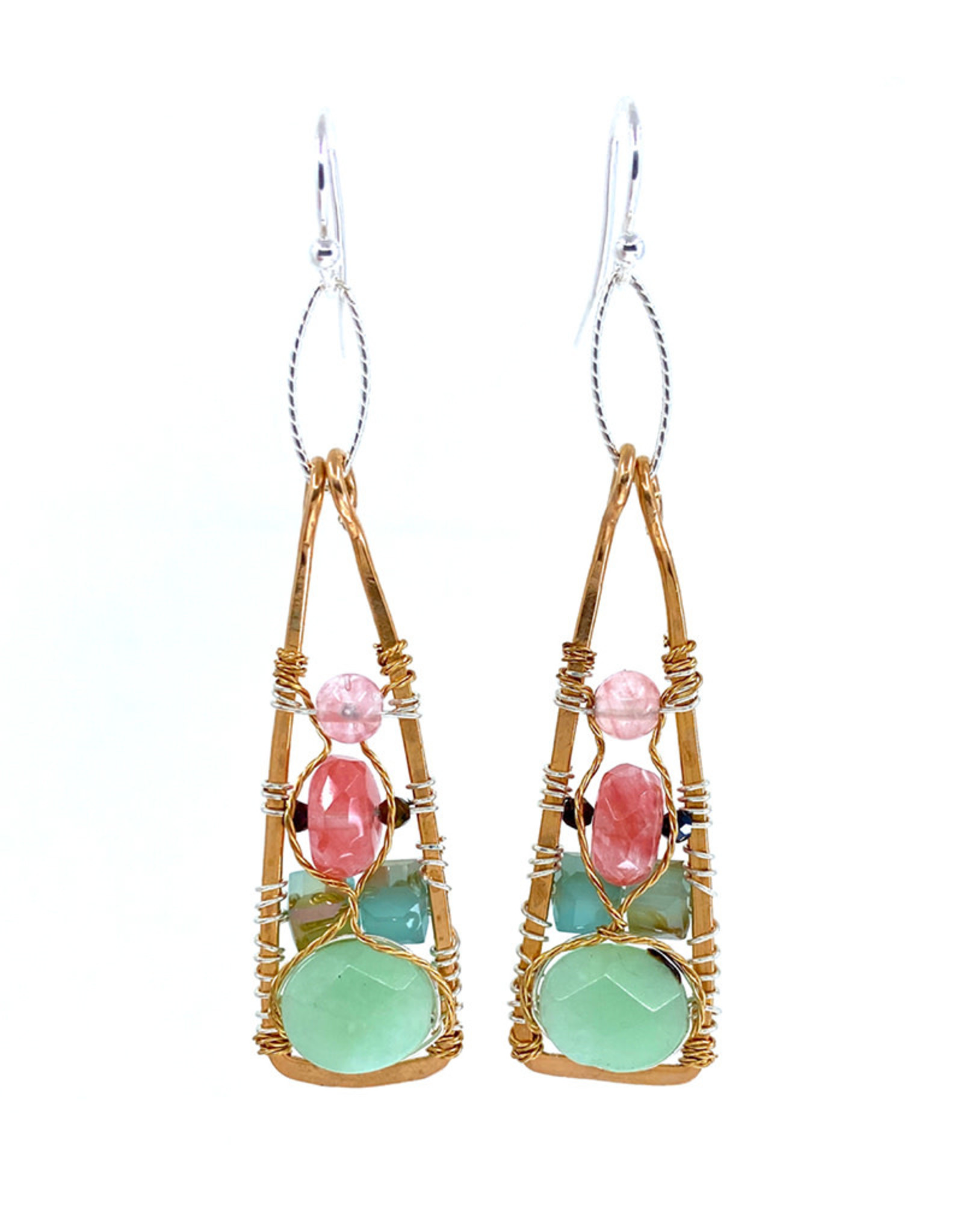 ART BY ANY MEANS JADE & CHERRY QUARTZ EARRINGS