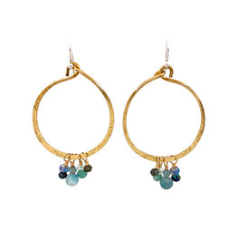 ART BY ANY MEANS MULTI-STONE CLUSTER HOOP EARRINGS
