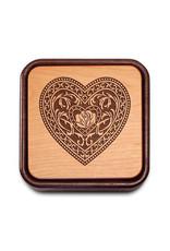 HEARTWOOD CREATIONS FILIGREE HEART FLIP-TOP PHOTO BOX