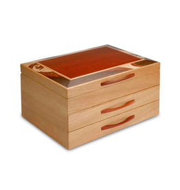 HEARTWOOD CREATIONS CHERRY WAVE 2-DRAWER JEWELRY BOX