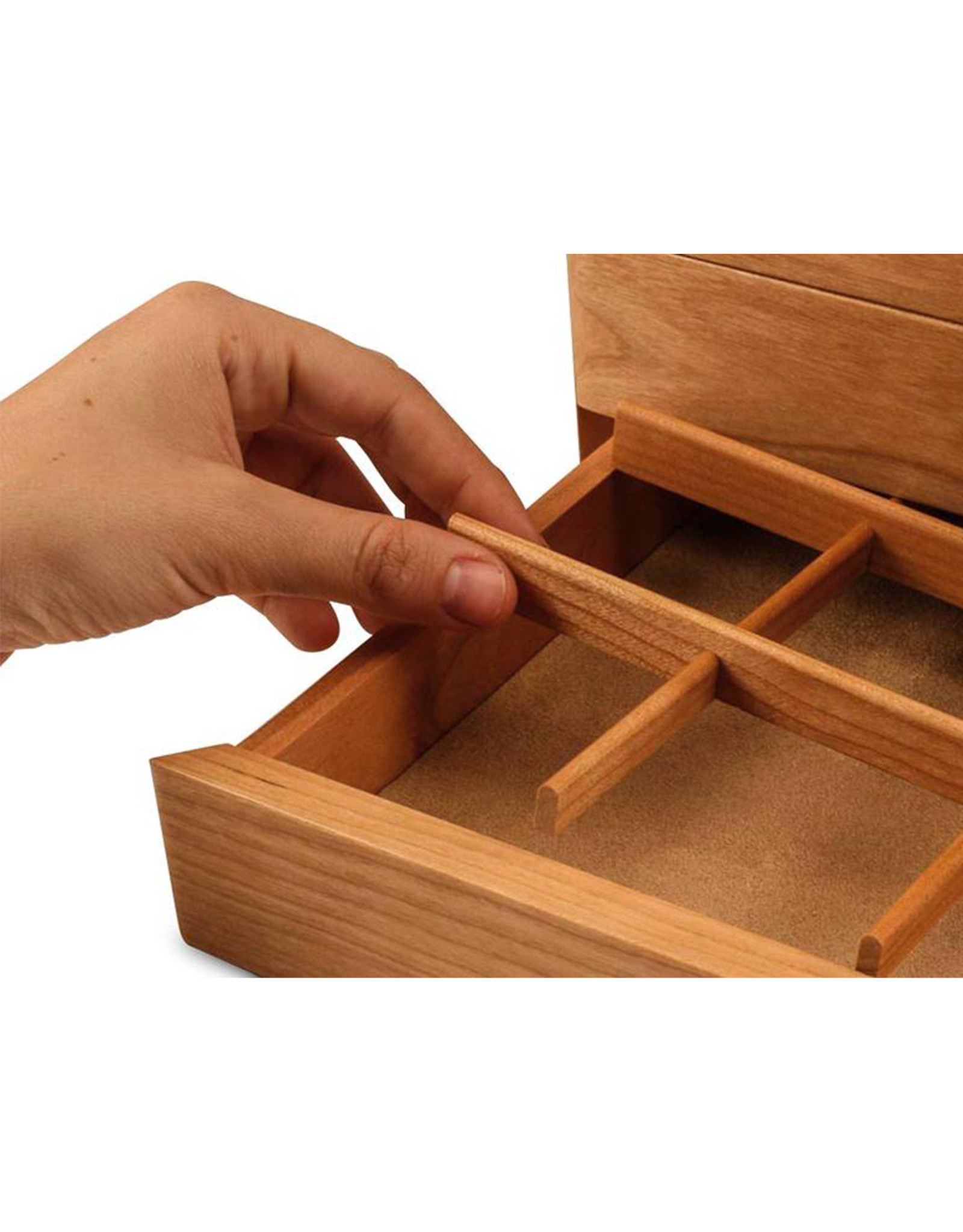 HEARTWOOD CREATIONS CHERRY WAVE 2 DRAWER JEWELRY BOX