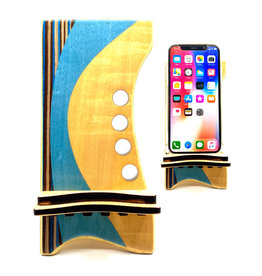 LOST ART WOODWORKS BLUE STRIPED II MARQUETRY INLAID PHONE STAND