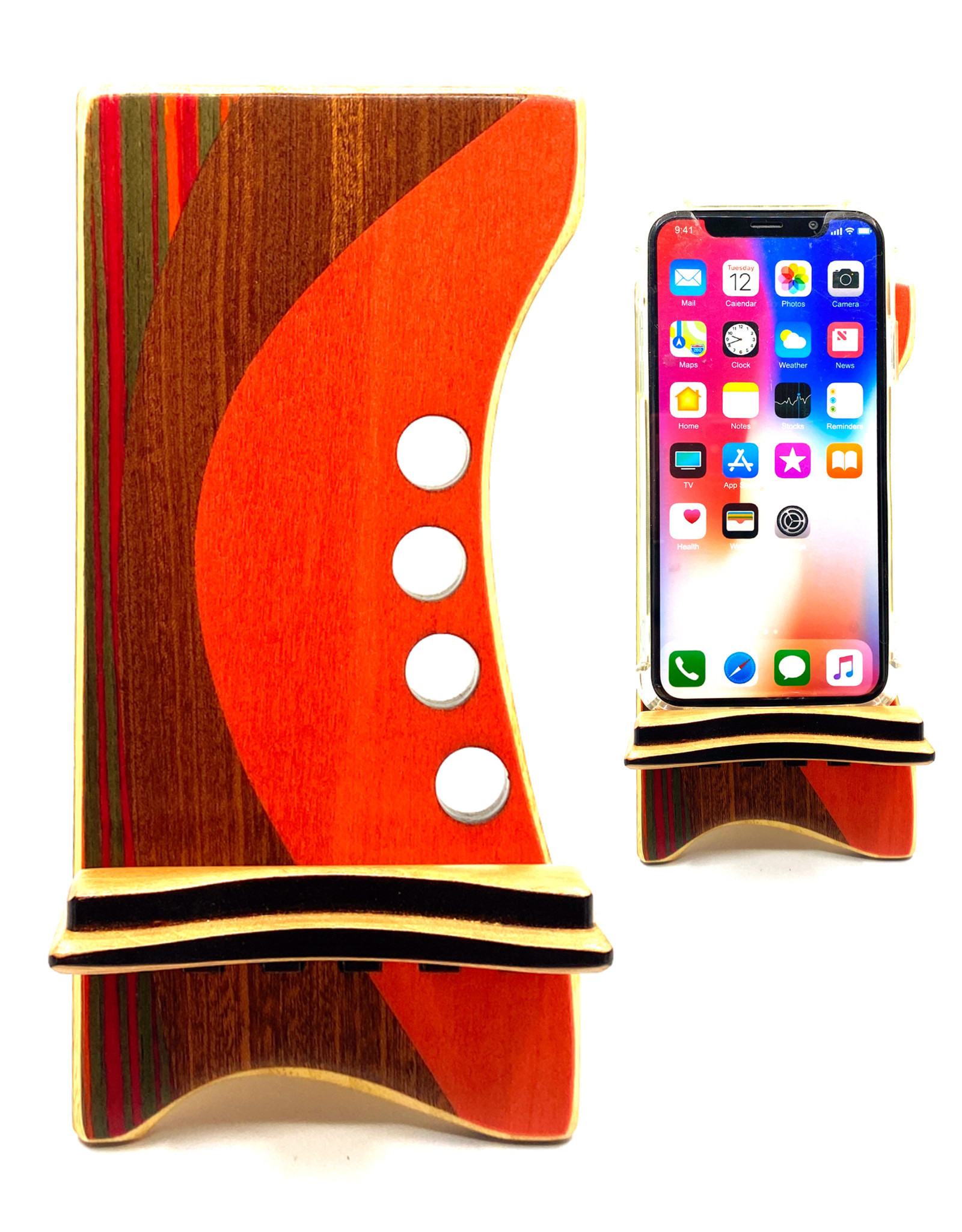 LOST ART WOODWORKS RED & BROWN MARQUETRY INLAID PHONE STAND