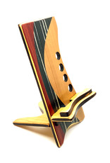 LOST ART WOODWORKS RED & BLACK MARQUETRY INLAID PHONE STAND