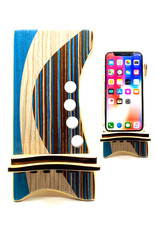 LOST ART WOODWORKS BLUE STRIPED MARQUETRY INLAID PHONE STAND