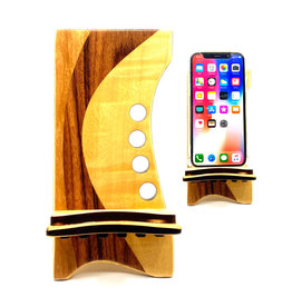 LOST ART WOODWORKS NAUTRAL WOOD IV MARQUETRY INLAID PHONE STAND